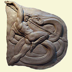Lucha con serpiente (relieve)